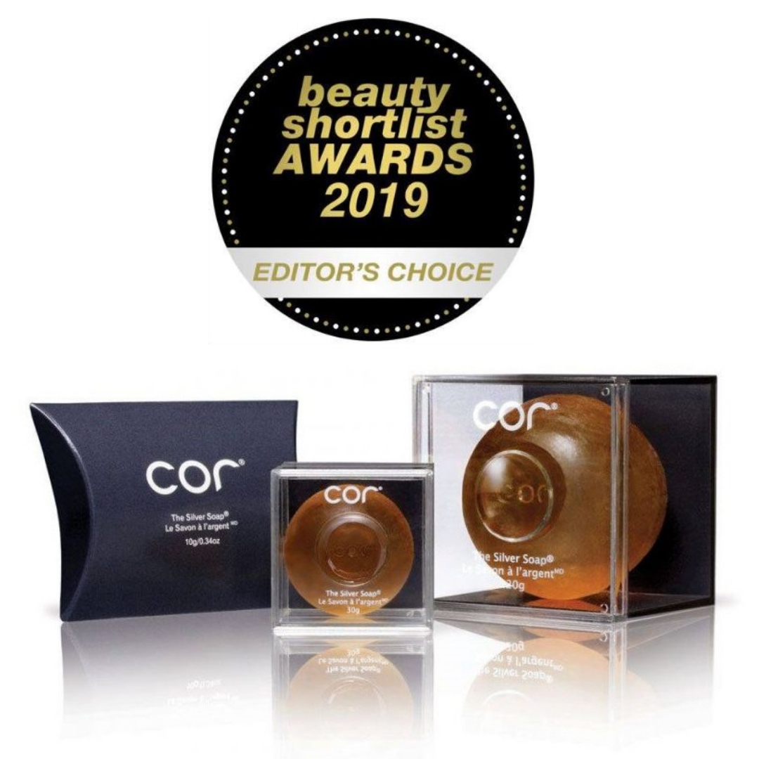 three sizes of The Silver Soaps with a beauty shotlist award label saying editor's choice